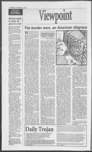 Daily Trojan, Vol. 121, No. 15, September 21, 1993