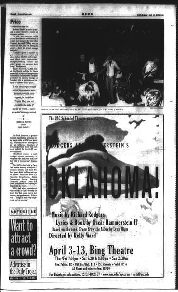 Daily Trojan, Vol. 148, No. 52, April 10, 2003