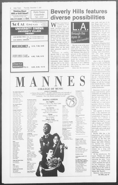 Daily Trojan, Vol. 116, No. 47, November 07, 1991
