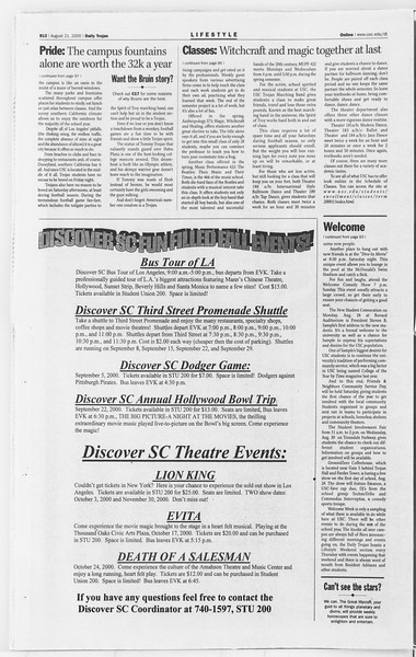 Daily Trojan, Vol. 141, No. 1, August 21, 2000