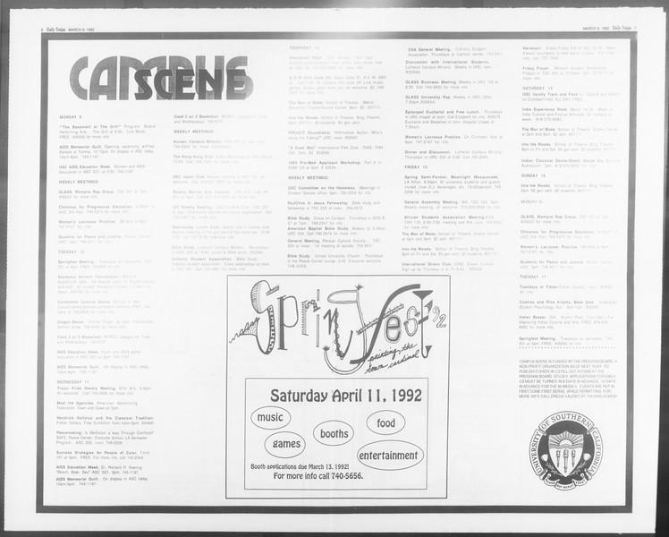 Daily Trojan, Vol. 117, No. 36, March 09, 1992