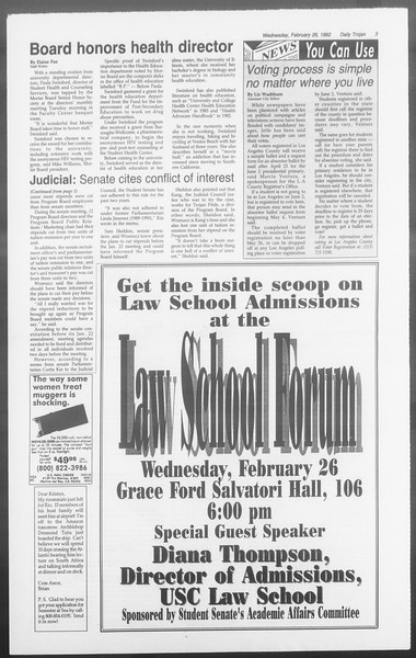 Daily Trojan, Vol. 117, No. 28, February 26, 1992