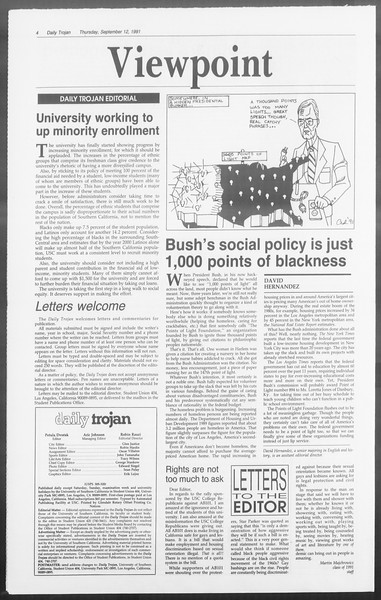 Daily Trojan, Vol. 116, No. 8, September 12, 1991