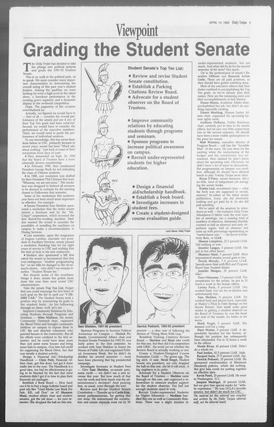 Daily Trojan, Vol. 117, No. 56, April 14, 1992