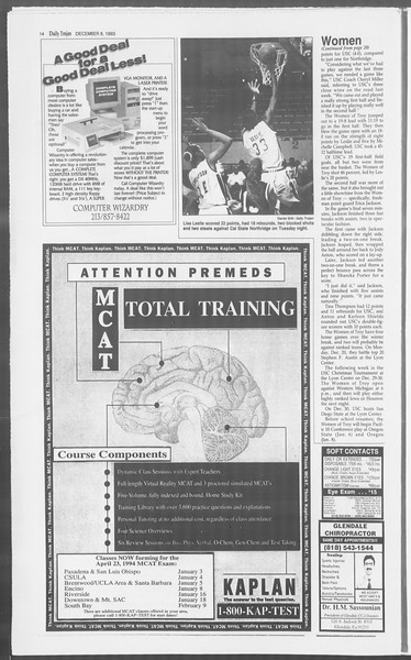 Daily Trojan, Vol. 121, No. 66, December 08, 1993