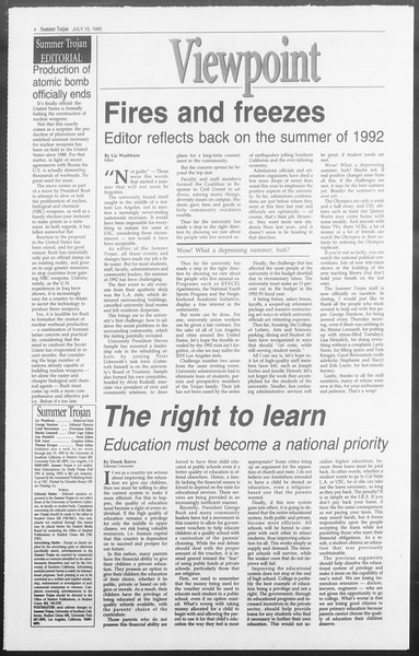 Summer Trojan, Vol. 118, No. 10, July 15, 1992