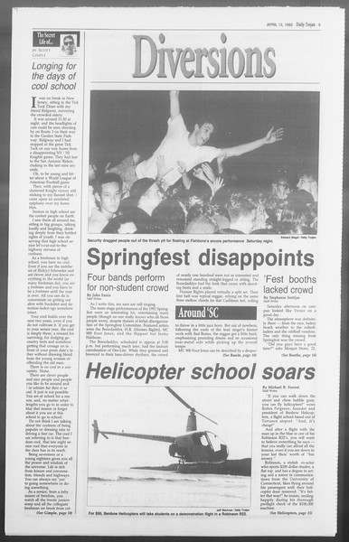 Daily Trojan, Vol. 117, No. 55, April 13, 1992