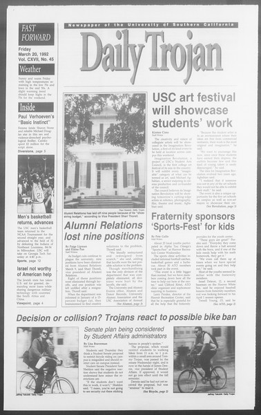 Daily Trojan, Vol. 117, No. 45, March 20, 1992
