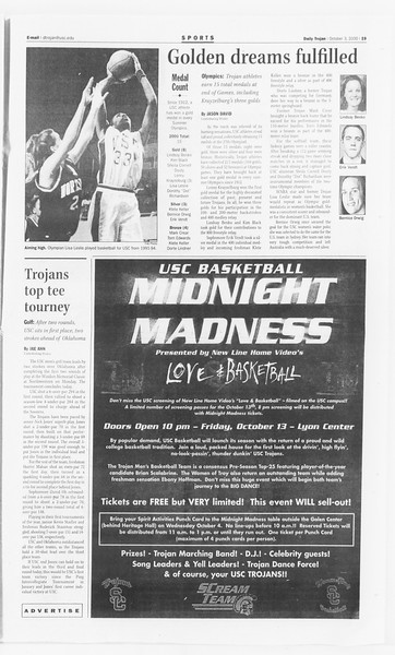 Daily Trojan, Vol. 141, No. 25, October 03, 2000