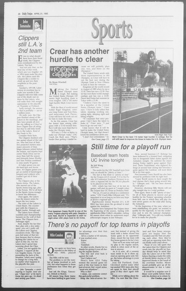 Daily Trojan, Vol. 117, No. 61, April 21, 1992
