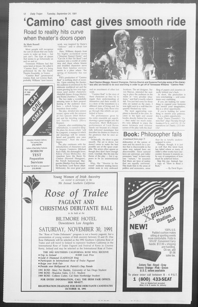 Daily Trojan, Vol. 116, No. 16, September 24, 1991