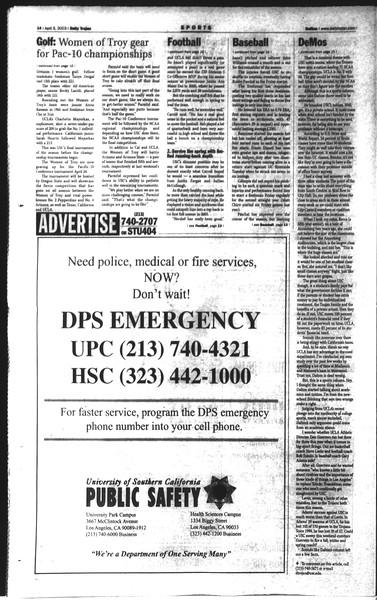 Daily Trojan, Vol. 148, No. 50, April 08, 2003