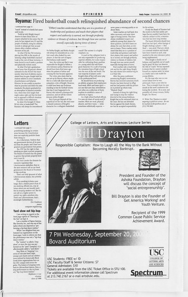 Daily Trojan, Vol. 141, No. 12, September 14, 2000