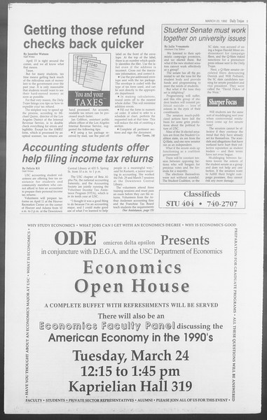 Daily Trojan, Vol. 117, No. 46, March 23, 1992