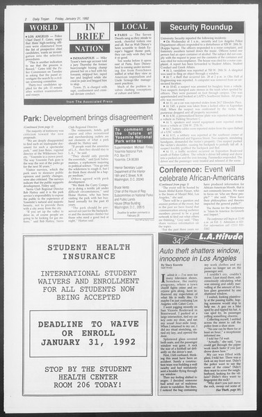 Daily Trojan, Vol. 117, No. 12, January 31, 1992