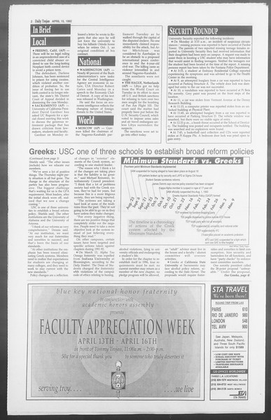 Daily Trojan, Vol. 117, No. 57, April 15, 1992