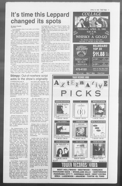 Daily Trojan, Vol. 117, No. 58, April 16, 1992