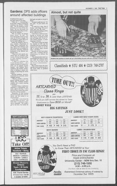Daily Trojan, Vol. 121, No. 61, December 01, 1993