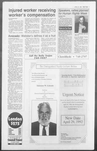 Daily Trojan, Vol. 117, No. 62, April 22, 1992