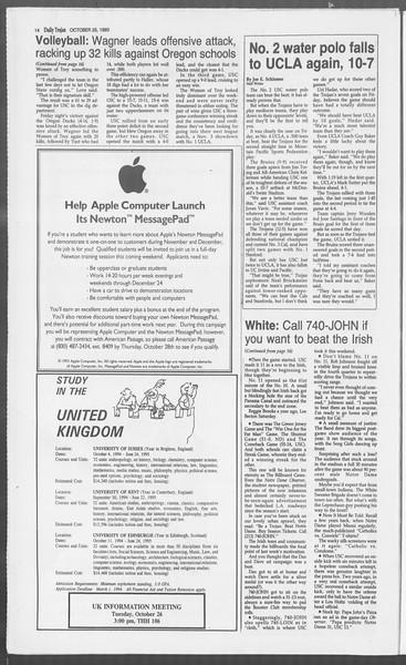 Daily Trojan, Vol. 121, No. 39, October 25, 1993