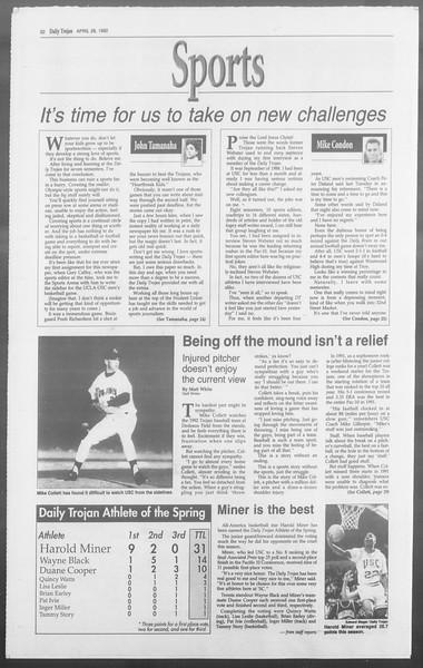 Daily Trojan, Vol. 117, No. 66, April 28, 1992