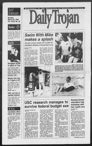 Daily Trojan, Vol. 119, No. 46, March 22, 1993