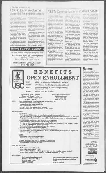 Daily Trojan, Vol. 121, No. 58, November 22, 1993