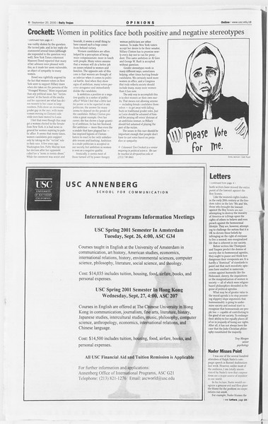 Daily Trojan, Vol. 141, No. 16, September 20, 2000