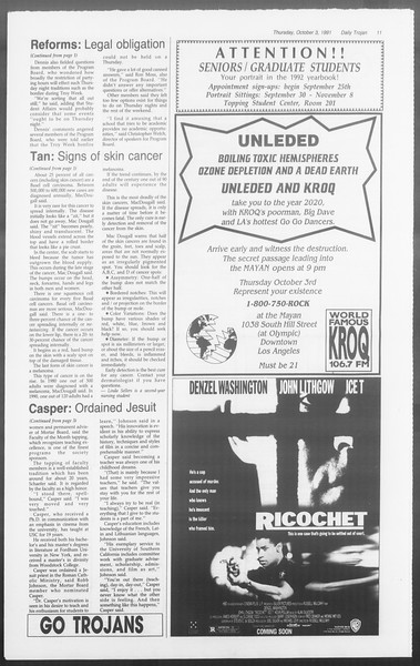 Daily Trojan, Vol. 116, No. 23, October 03, 1991
