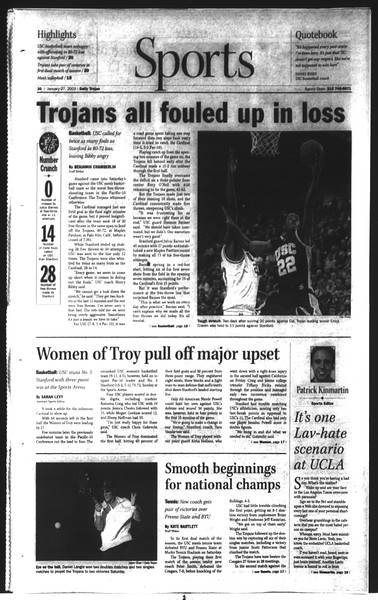 Daily Trojan, Vol. 148, No. 8, January 27, 2003
