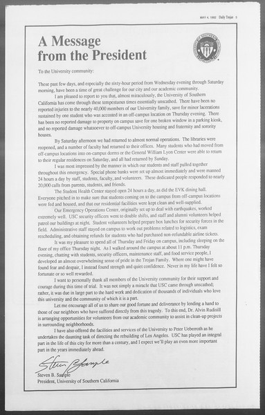 Daily Trojan, Vol. 117, No. 67, May 04, 1992