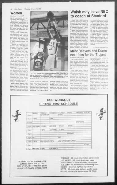 Daily Trojan, Vol. 117, No. 3, January 16, 1992