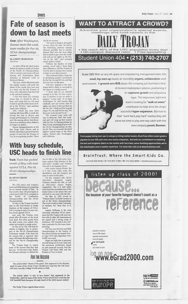 Daily Trojan, Vol. 139, No. 67, April 27, 2000