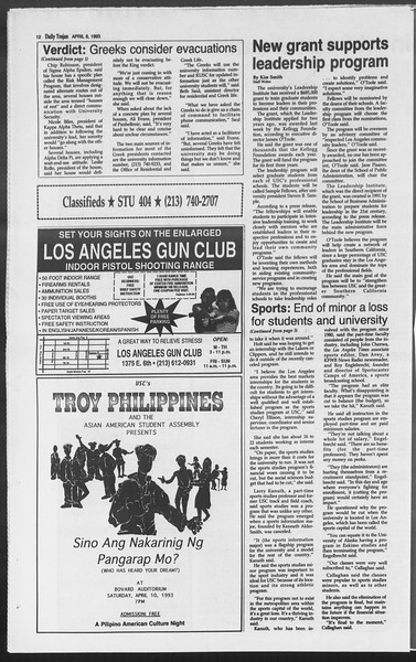Daily Trojan, Vol. 119, No. 53, April 08, 1993
