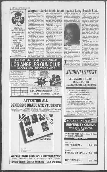 Daily Trojan, Vol. 121, No. 21, September 29, 1993