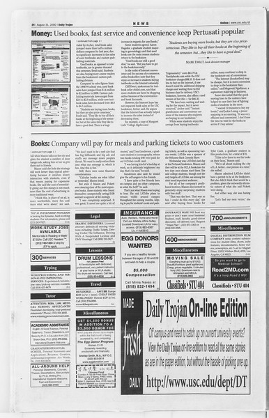 Daily Trojan, Vol. 141, No. 4, August 31, 2000