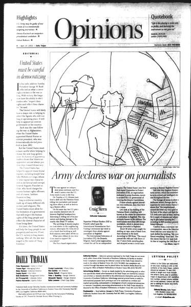 Daily Trojan, Vol. 148, No. 54, April 14, 2003