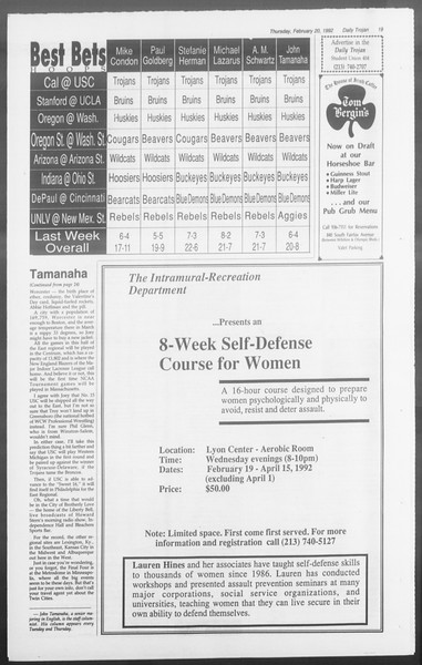 Daily Trojan, Vol. 117, No. 24, February 20, 1992