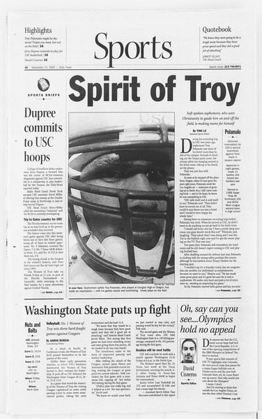 Daily Trojan, Vol. 141, No. 13, September 15, 2000