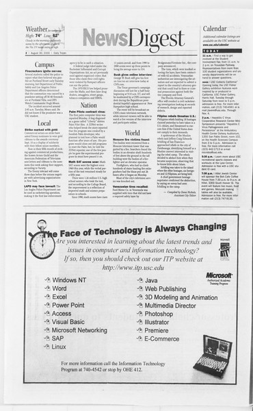 Daily Trojan, Vol. 141, No. 3, August 30, 2000