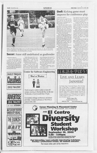 Daily Trojan, Vol. 141, No. 19, September 25, 2000