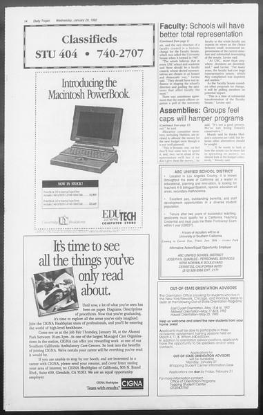Daily Trojan, Vol. 117, No. 10, January 29, 1992