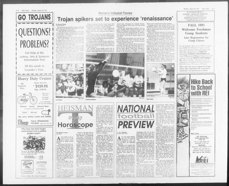 Daily Trojan, Vol. 116, No. 1, August 26, 1991