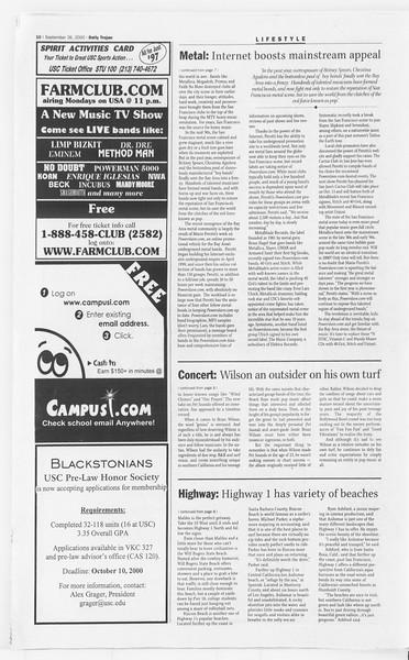 Daily Trojan, Vol. 141, No. 20, September 26, 2000