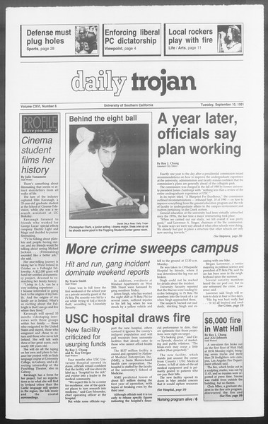 Daily Trojan, Vol. 116, No. 6, September 10, 1991