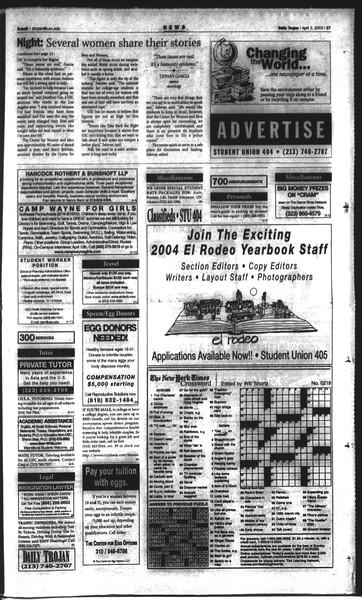 Daily Trojan, Vol. 148, No. 46, April 02, 2003