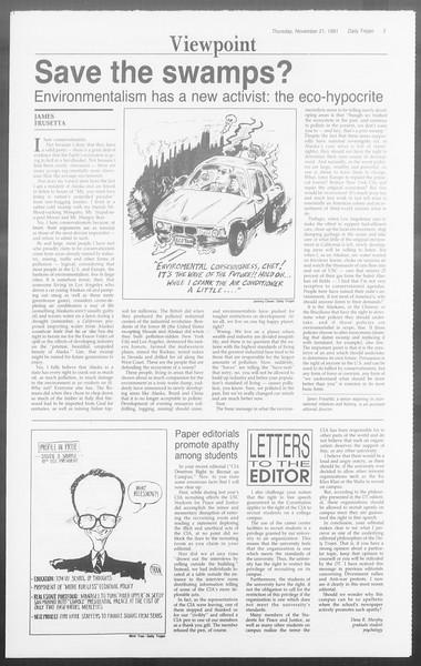 Daily Trojan, Vol. 116, No. 57, November 21, 1991