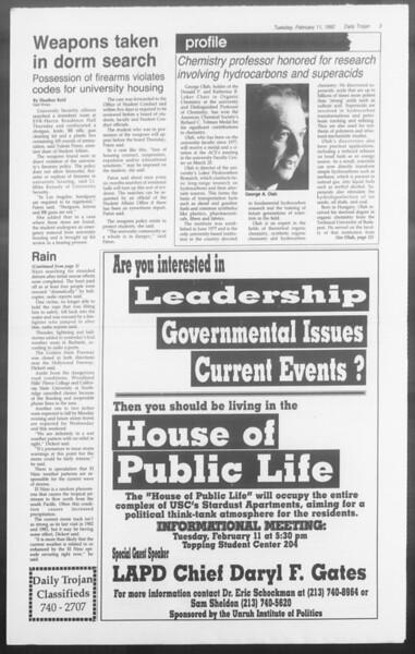 Daily Trojan, Vol. 117, No. 19, February 11, 1992