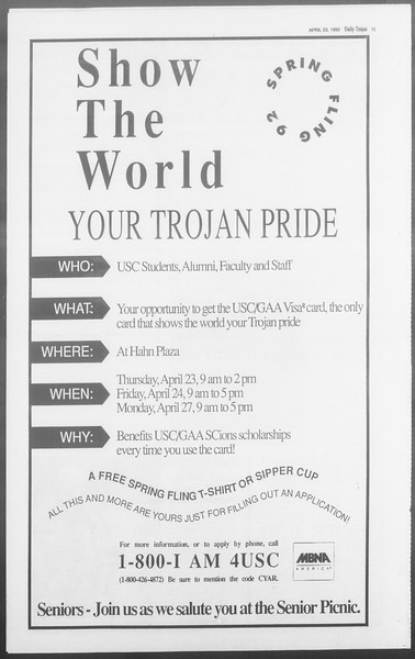 Daily Trojan, Vol. 117, No. 63, April 23, 1992