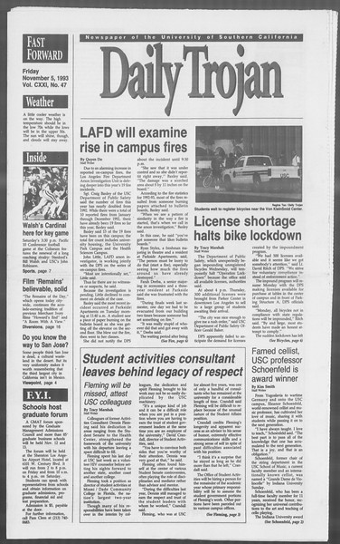 Daily Trojan, Vol. 121, No. 47, November 05, 1993